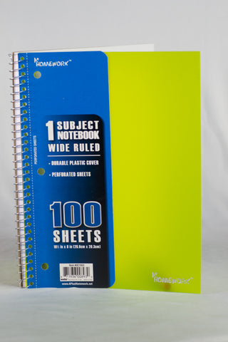Spiral Notebook With Plastic Cover - Wide Rule 100 Sheet One Subject