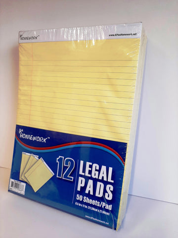 Legal Ruled Pad Letter Size Canary Yellow UC-1997
