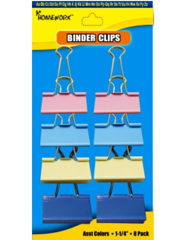 Binder Clips 8 Assorted Colors Medium Size