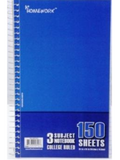 "Notebook Wide Rule Small 9.5"" X 6"" 150 Sheets 3 Subject"