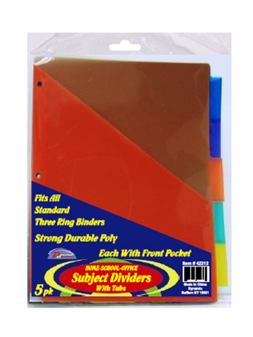 Poly Dividers 5 per pack With  Front Pocket