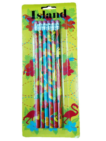 A+ Homework Fancy Printed Pencils - 6 Pack- Island
