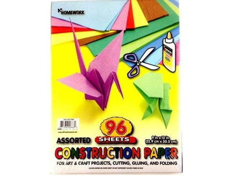 "Construction Paper Pack 9"" X 12""   - 96 Sheets"