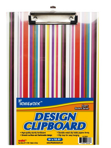 "Clipboard 9"" x 12""  Plastic Fashion Design Assorted"