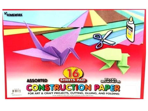 "Construction Paper Pad  12"" X 18"" - 16 Sheets"