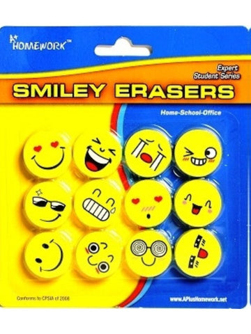 12 SMILEY NOVELTY ERASERS