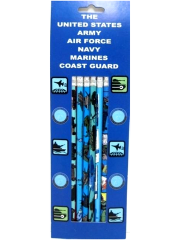 A+ Homework Fancy Printed Pencils 6 Pack  - Usa Armed Services