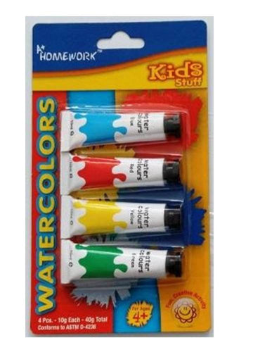 A+ HOMEWORK - Watercolor Paint Tubes - Pack - 4