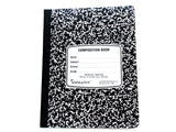 Composition Notebook - Wide Rule Black & White Marble 100 Sheet