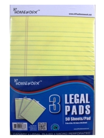 "LEGAL PADS  5"" x 8"" - CANARY  Yellow 3 per PACK"