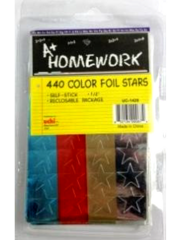 Stickers - Assorted Color Foil Stars - 440