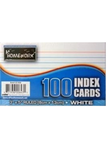 "Ruled White Index Cards 100  3"" X 5"""