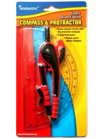 "Safety Compass with  6"" Protractor"