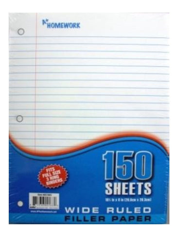Filler Paper Wide Rule 150 Sheet