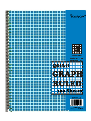 Graph Ruled Spiral Notebook - 100 Sheets