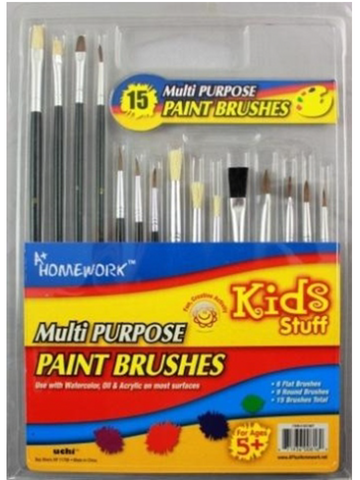 A+ HOMEWORK - Paint Brushes - 15 Count Asst.Sizes