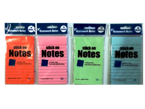 "Sticky Notes Neon Color  Ruled  3""X5"" 70 Sheets"
