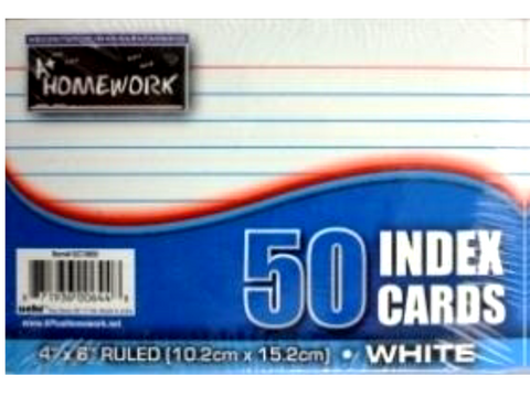 "Ruled White Index Cards 50  4"" X 6"""