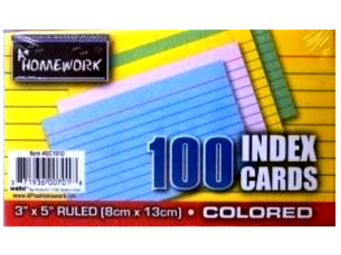 "Ruled Colored Index Cards 100 3"" X 5"""