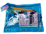 A + HOMEWORK 3 Hole Pencil Pouch Solid Fabric Back W/ Clear Printed Plastic Front