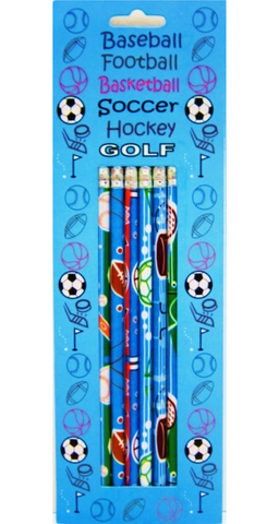 A+ Homework Fancy Printed Pencils Pack - 6 Sports