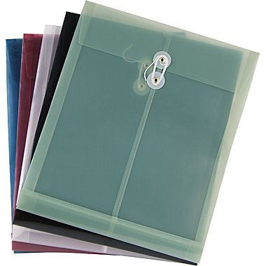 Plastic Document Envelopes with String  & Button Closure - 2 Per Pack