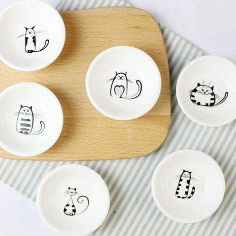 6pcs Tiny Cute Cat Plates