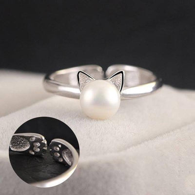 925 Sterling Silver Cat Pearl Ring-FreakyPet