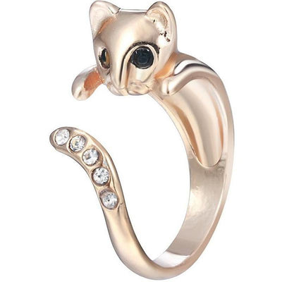 18k Gold & Silver Plated Rhinestone Cat Ring-Rings-FreakyPet