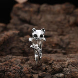 18k Gold & Silver Plated Rhinestone Cat Ring