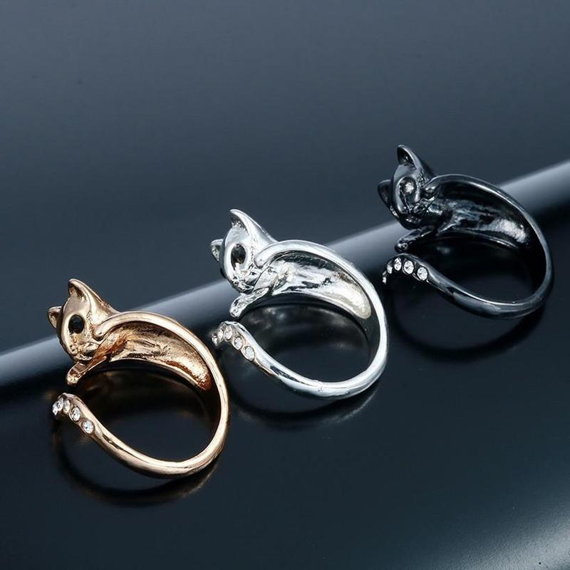 open young honey silk ring cat gold fashion rings design paws adjustable and women plated lovely ears products ladies ear silver girls