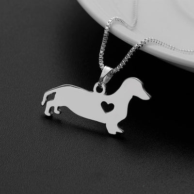 Silver Dachshund Heart Necklace-Pendant Necklaces-FreakyPet