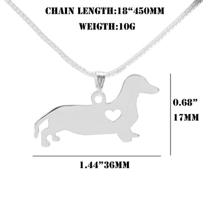Silver Dachshund Heart Necklace-FreakyPet