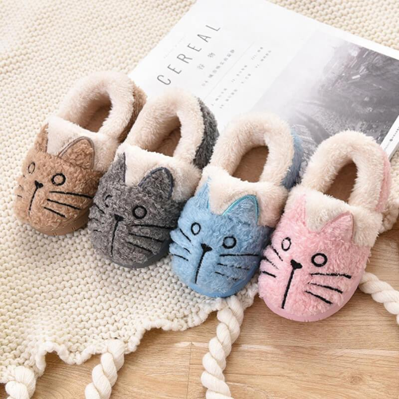 23e6ef015b34 Cute Fluffy Cat Plush Slippers For Kids And Adults - FreakyPet