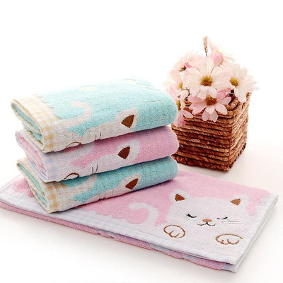 Cute Kitty Cotton Hand Towel-Face Towels-FreakyPet
