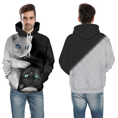 Black & White 3D Upside-Down Cat Hoodie