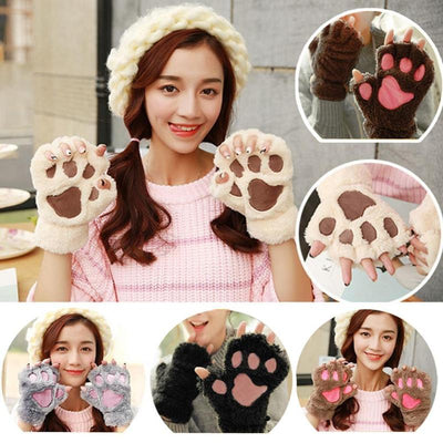 cat paw fingerless gloves