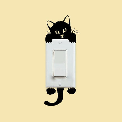 DYI Black Cat Light Switch Sticker-Wall Stickers-FreakyPet