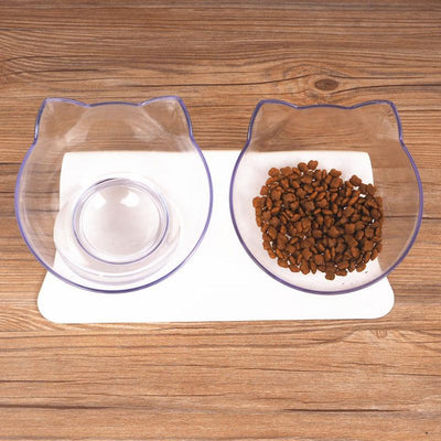 Twin Pet Bowls With Raised Stand-Cat Feeding & Watering Supplies-FreakyPet