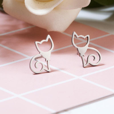 Minimalist Cats Earrings-Stud Earrings-FreakyPet