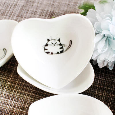 6Pcs Cute Cat Heart Shaped Saucer Plates