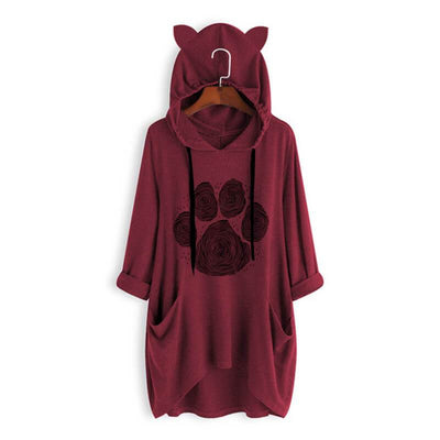 Cat Paw Print Oversize Hoodie With Cat Ears-Hoodies & Sweatshirts-FreakyPet