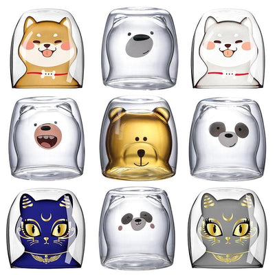 Cute Double Layer Cartoon Glass Cups-FreakyPet