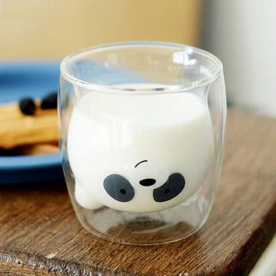Cute Double Layer Cartoon Glass Cups-Transparent-FreakyPet