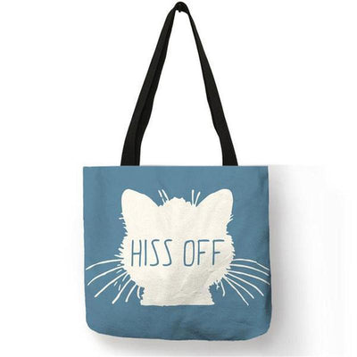 Cool Cat Print Cotton Linen Tote Bag-FreakyPet