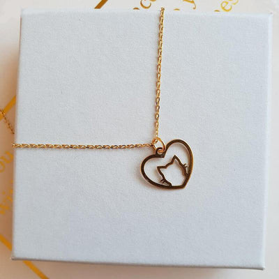 I Love Cats Heart Necklace-Pendant Necklaces-FreakyPet