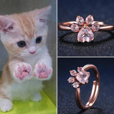 3ec99cc261d0d3 Rose Gold Plated Cat Paw Ring-Rings-FreakyPet