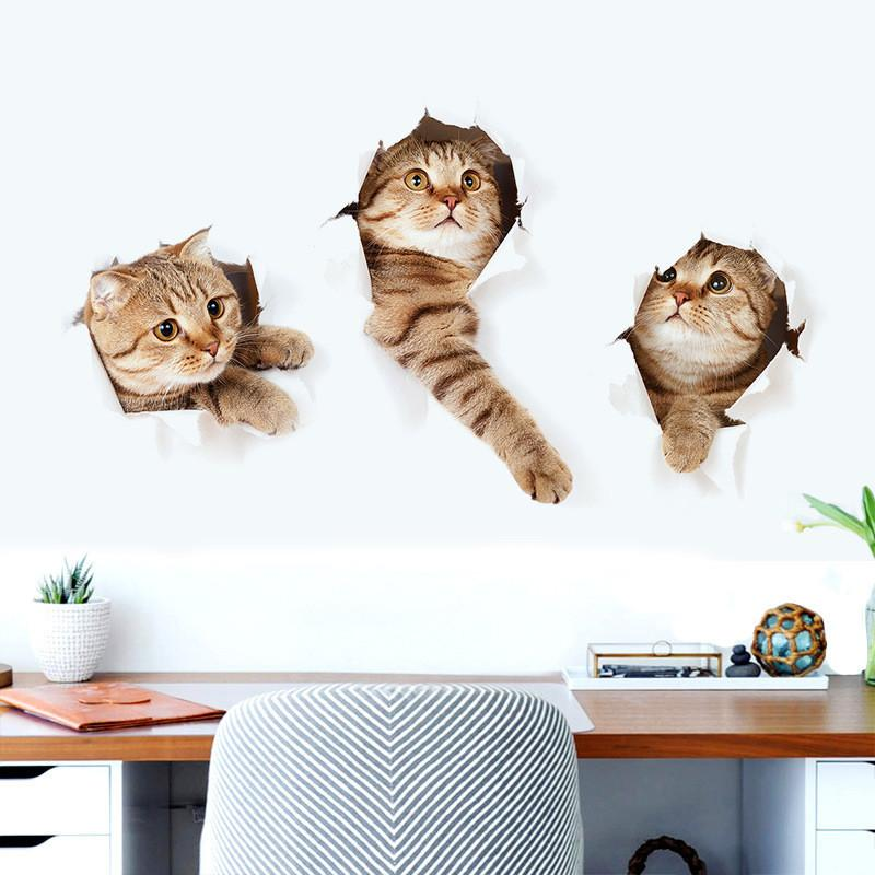 3d cat wall decal - freakypet