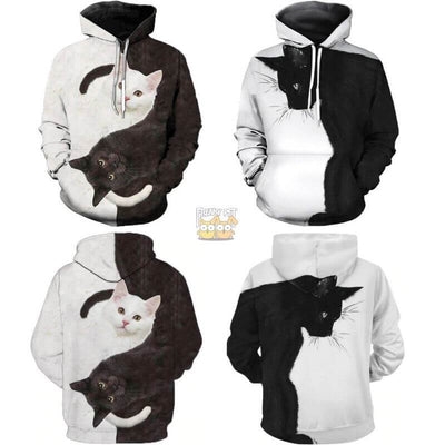 3D Black & White Double Side Printed Cat Unisex Hoodies-FreakyPet