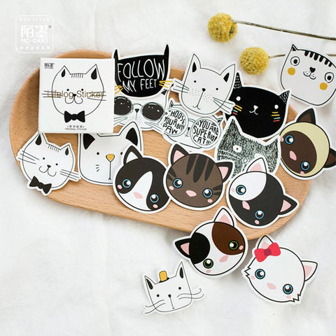 45pcs Cute Cat Head Sticker